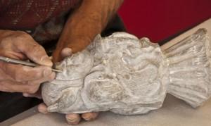 The sculpture Gabriel Beaulieu is working on.