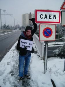 Jeremy Marie hitchhiking