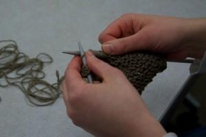 Dobbin is knitting a dishcloth.