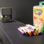 The visual similarity between crayons and tampons is striking. Photo by Patricia Barrett