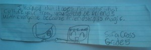 Message of a grade 5 student