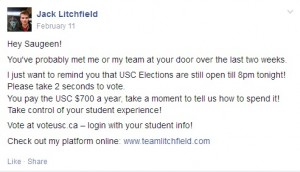 Litchfield's post, including campaign link at end during voting period