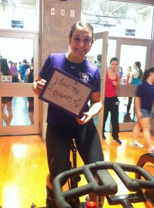 Madliger at last year's Love Your Body cycling class