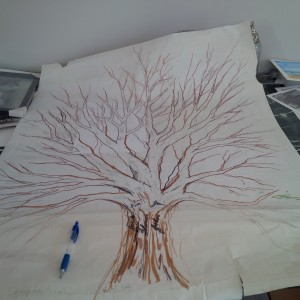 Joni Baechler has sketched out this draft of her family tree project.
