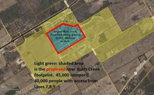New owners expanded Burl's Creek Event Centre to the area shown in light green for this year's festivals Photo courtesy of Save Oro's website