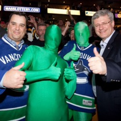 The Green Men with Prime Minister Stephen Harper