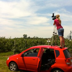 Student standing on roof of car