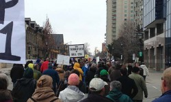 Protestors march against Bill C-51 in downtown London on March 14, 2015. <br /> Photo by Sumayya Tobah. <br />