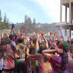 Celebrating Holi at The University of California, Berkeley. Photo by Ben Chaney. Photo from Wikimedia Commons.