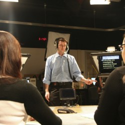 Western Journalism students conducting a newscast <br /> Photo by Jeremy Copeland