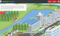 A screenshot of the Reducimpact.ca homepage shows stories on how to reduce energy consumption.