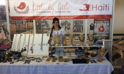 Isabel Stigge selling jewelry made by Haitian mothers at the Western Fair Farmer's Market. <br /> Photo by Taylor Simmons <br />
