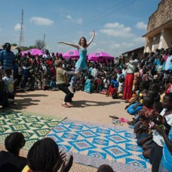 Clowns Without Borders putting on a show in South Sudan last year. <br />Photo courtesy of Clowns Without Borders<br />