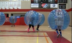 Some Londoners are trying out a new sport called bubble soccer <br /> Photo by Jeremiah Rodriguez